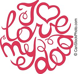 Happy Fathers Day handlettering element in pink color I love...