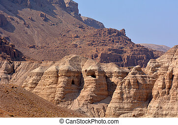 Qumran caves Dead Sea Israel - Qumran caves in Qumran...