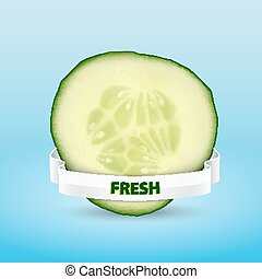 Cucumber slice with ribbon High quality vector EPS10 vector...