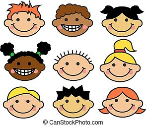 Cartoon children's faces