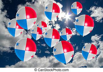 Muchos, Globos, con, Panamá, bandera, en, cielo,