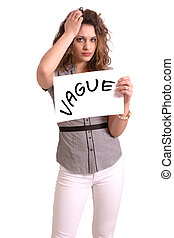 uncomfortable woman holding paper with Vague text - Young...
