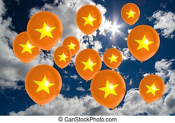 many balloons with vietnam flag on sky - many ballons in...