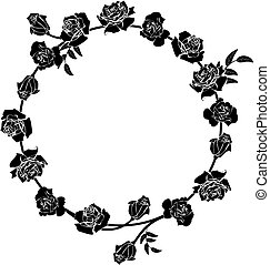 floral roses frame - vector frame with flowers of roses in...