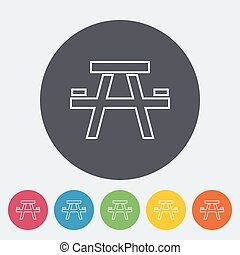 Camping table. Single flat icon on the circle. Vector...