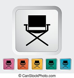 Camping chair. Single flat icon on the button. Vector...