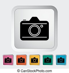 Camera. Single flat icon on the button. Vector illustration.