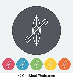 Canoe icon - Canoe. Single flat icon on the circle. Vector...