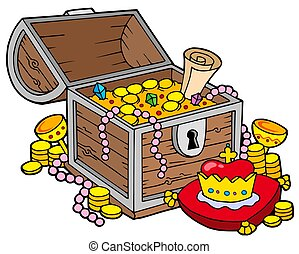 Big treasure chest - isolated illustration.