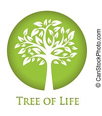 Tree of Life - round green icon with a silhouette of a tree