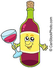 Cartoon bottle of wine - isolated illustration.