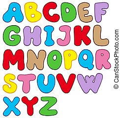 Cartoon alphabet on white background - isolated...