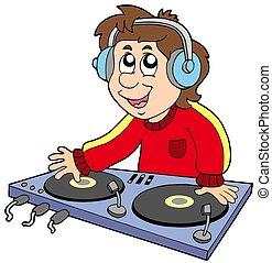 Cartoon DJ boy on white background - isolated illustration.