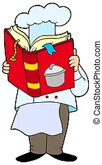 Chef reading cookery book - isolated illustration.