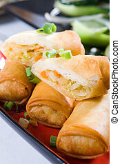vegetable egg rolls - chinese deep fried vegetable egg rolls