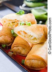 vegetable egg rolls - chinese deep fried vegetable egg rolls