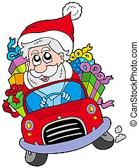 Santa Claus driving car - isolated illustration.