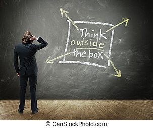 Creative Thinking in Business Concept Image - Rear View of...