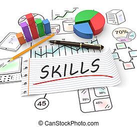 Business skills concept - Business skills, handwritten on...