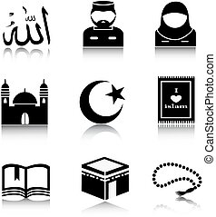 Set of Islam icons - Set Muslim icons on a white background