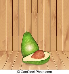 Avocado on wood texture. High quality vector. EPS10 vector