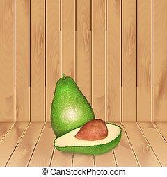 Avocado on wood texture. High quality vector. EPS10 vector