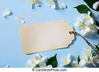 art Beautiful jasmine Flowers and vintage card
