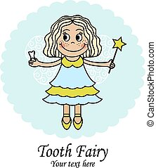 Tooth Fairy - emblem with a little fairy that holds the...
