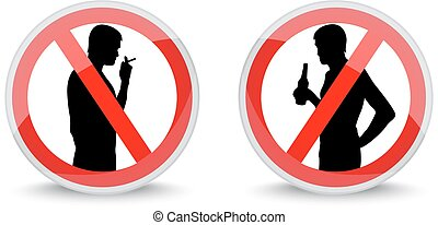 signs prohibiting - red signs with smoking and drinking...