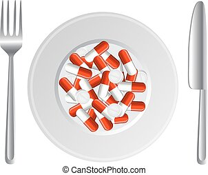 breakfast hypochondriac - plate with a bunch of capsules and...