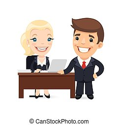 Boss and Secretary Planning Business Day Isolated on white...