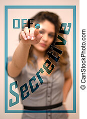 Secretive woman decisive for personal growth - young woman...