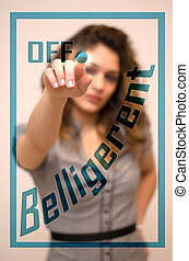 anger management, turn off Belligerent - young woman turning...