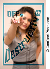 anger management, turn off Destructive - young woman turning...
