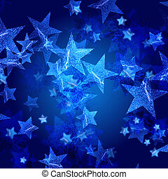 blue stars over dark blue background with feather center