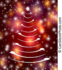 white christmas tree in red - christmas tree drawn by white...
