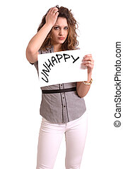 uncomfortable woman holding paper with Unhappy text - Young...