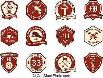 Fire department logo and badges set Symbol protection,...