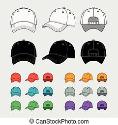 Baseball cap vector template set Uniform fashion, blank hat,...