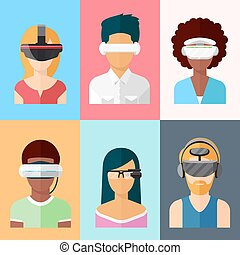 Flat vector head-mounted displays icon set. Virtual and augmented reality gadgets
