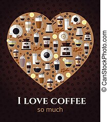 I love coffee sign in shape of heart Americano and...
