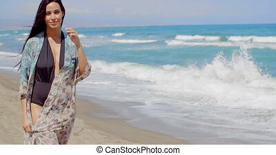 Pretty Young Woman in Summer Wear at the Beach - Smiling...