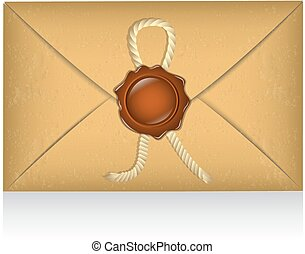 sealed envelope with sealing wax and rope