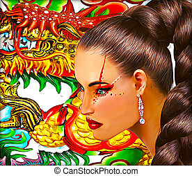Asian woman with dragon background Long pony tail hairstyle...