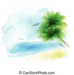 Vector background of a watercolor seascape