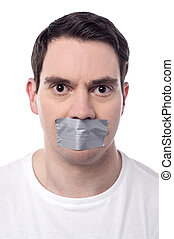 Help me, i was kidnapped. - Angry man mouth covered by...