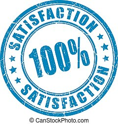 Satisfaction guarantee rubber stamp on white background