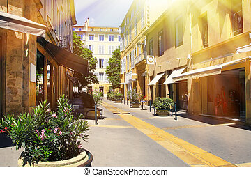 The old streets of the interesting and unusual Provence,...