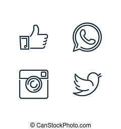 Line designed vector icons of like, handset, camera and bird...