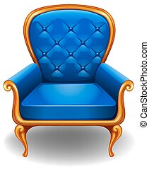 Armchair - Elegant blue armchair on white background